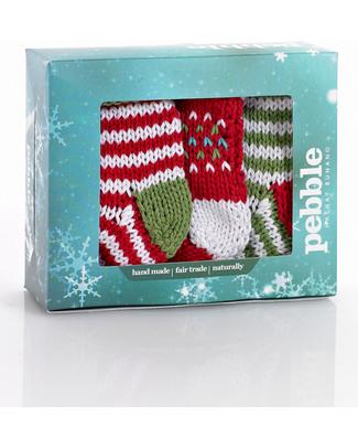 Pebble Set di 3 Decorazioni Mini Calze Crochet - Fair Trade (altezza 15 cm circa) Decorazioni Natalizie