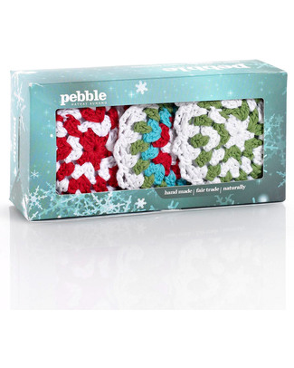 Pebble Set di 3 Decorazioni Natalizie - Fiocchi di Neve Crochet - Fair Trade Decorazioni Natalizie