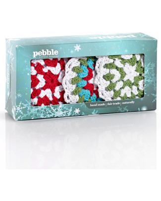 Pebble Set di 3 Decorazioni Natalizie - Fiocchi di Neve Crochet - Fair Trade Decorazioni Natalizie