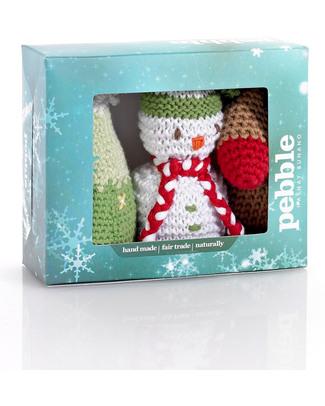 Pebble Set di 3 Decorazioni Natalizie - Pupazzo di Neve, Renna, Albero - Fair Trade (altezza 15 cm circa) Decorazioni Natalizie
