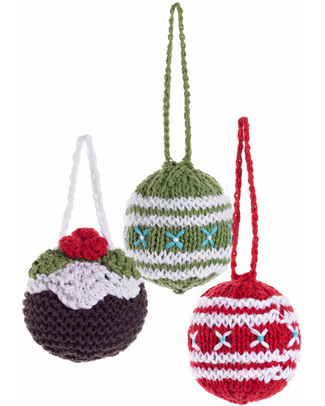 Pebble Set di 3 Palline Natalizie in Crochet - Fair Trade Decorazioni Natalizie