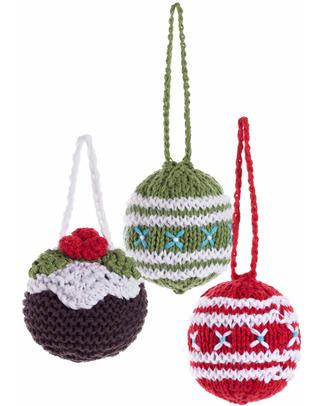 Pebble Set di 3 Palline Natalizie in Crochet - Fair Trade Decorazioni Natalizie