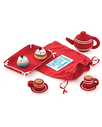 Pebble Set Gioco Teatime - Rosso - 20x14x10 cm - Fair Trade Travestimenti