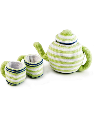 Pebble Set Teiera e Due Tazze - Righe Verdi/Bianche Pupazzi Crochet