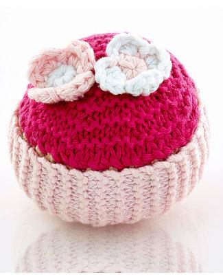Pebble Sonagli Cupcake Glassa - Rosa chiaro, glassa fuxia e fiorellini - 8 cm Sonagli