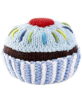 Pebble Sonaglio Cupcake Panna - Celeste con Ciliega Rossa - 100% Cotone Sonagli