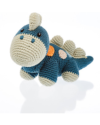 Pebble Sonaglio - Dinosauro, Blu Petrolio - Fair Trade - Cotone Bio Sonagli