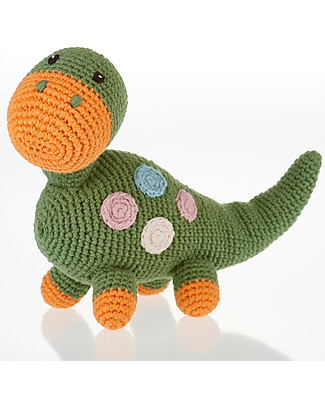 Pebble Sonaglio Dinosauro, Verde - Fair Trade, Cotone bio Sonagli