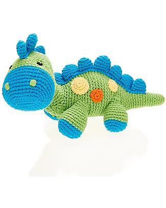 Pebble Sonaglio - Dinosauro, Verde Mela - Fair Trade - Cotone Bio Sonagli