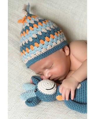 Pebble Sonaglio Grande - Giraffa a Pois Blu Denim - Cotone Bio Fair Trade (Altezza 32 cm) Pupazzi Crochet