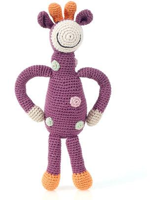Pebble Sonaglio Grande - Giraffa a Pois Violetto- Cotone Bio - Fair Trade (Altezza 32 cm) Pupazzi Crochet