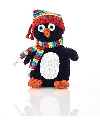 Pebble Sonaglio Pinguino - 16 cm - Fair Trade Pupazzi Crochet
