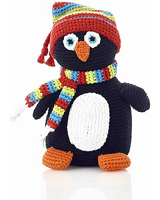 Pebble Sonaglio Pinguino - Fatto a Maglia - 24 cm - Fair Trade Pupazzi Crochet