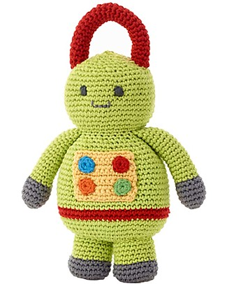 Pebble Sonaglio Robot - Verde - Fair Trade - Alto 24 cm! Sonagli