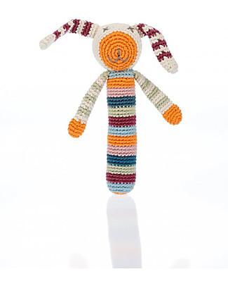 Pebble Sonaglio Stick Coniglio Multicolour - Fair Trade, Cotone Bio null