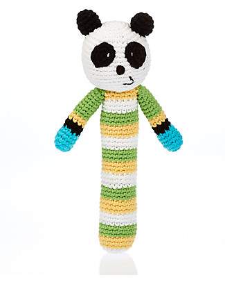 Pebble Sonaglio Stick Panda - Fair Trade, Cotone Bio Sonagli