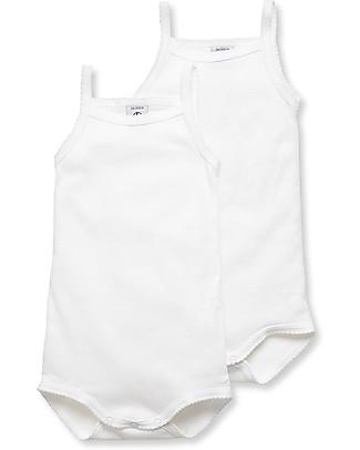 Petit Bateau Body Bebé Con Spalline, Bianco – Confezione da 2! Body Manica Corta
