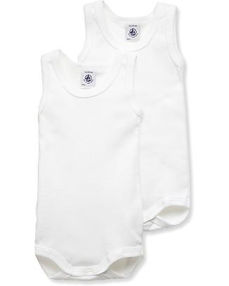 Petit Bateau Body Bebé Senza Maniche, Bianco – Confezione da 2! Body Manica Corta