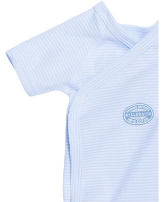 Petit Bateau Body Kimono Maniche Corte - Millerighe Blu - 100% Cotone Body Manica Corta