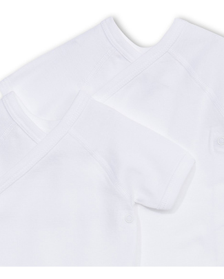 Petit Bateau Body Kimono (Pacco da 2) Maniche Corte - Bianco- 100% Cotone Body Manica Corta