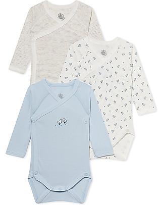 Petit Bateau Body Kimono (Pacco da 3) Maniche Lunghe, Fantasie Varie - 100% Cotone Tutine Corte