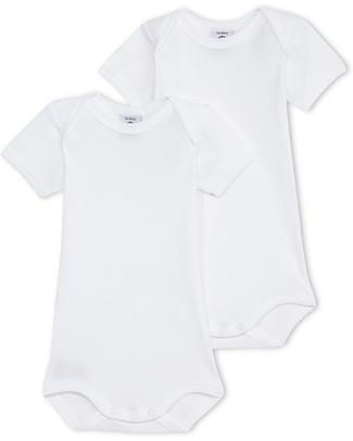 Petit Bateau Body Manica Corta (Pacco da 2) - Bianco- 100% Cotone Body Manica Corta
