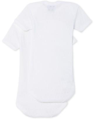 Petit Bateau Body Manica Corta, Pacco da 2 - Bianco - 100% Cotone Body Manica Corta