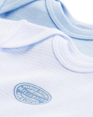Petit Bateau Body Manica Corta (Pacco da 2) - Millerighe Blu - 100% Cotone Body Manica Corta