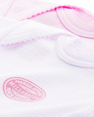 Petit Bateau Body Manica Corta (Pacco da 2) - Millerighe Rosa - 100% Cotone Body Manica Corta