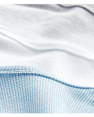 Petit Bateau Body Manica Corta, Pacco da 3 - Tinta Unita: Celeste, Bianco, Grigio - 100% Cotone Body Manica Corta