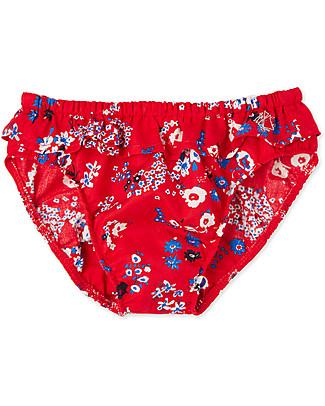 Petit Bateau Costume Bimba con Rouches, Rosso/Fiori Costumi a Pantaloncino