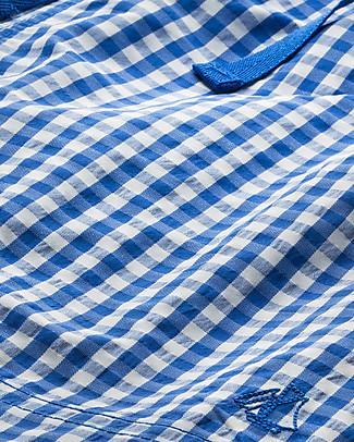 Petit Bateau Costume Bimbo a Pantaloncino, Bianco/Azzurro Quadretti Costumi a Pantaloncino