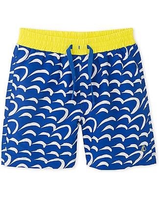 Petit Bateau Costume Bimbo a Pantaloncino, Blu/Giallo Costumi a Pantaloncino
