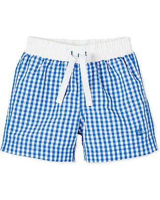 Petit Bateau Costume Bimbo a Pantaloncino, Quadretti - Bianco/Azzurro Costumi a Pantaloncino
