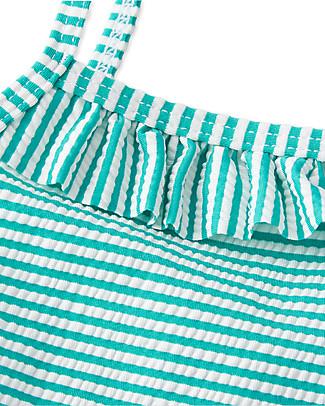Petit Bateau Costume Intero Bimba con Doppi Volant, Righe Bianco/Verde Costumi Interi
