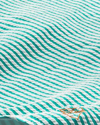 Petit Bateau Costume Intero Bimba con Volant, Righe Bianco/Verde Costumi Interi