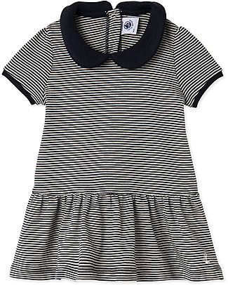 Petit Bateau Millerais-Striped Girls Dress, Navy/White - 100% Cotton Dresses