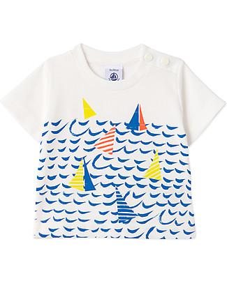 Petit Bateau T-Shirt con Barchette, Bianco/Azzurro - 100% jersey di cotone T-Shirt e Canotte