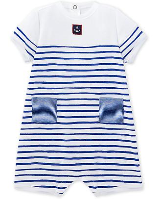 Petit Bateau Tutina Baby Maniche Corte, Bianco/Blu Tutine Corte