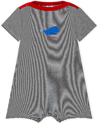 Petit Bateau Tutina Corta a Righe con Balena Blu - Perfetta per l'Estate! Tutine Corte