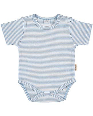 Petit Oh! Basic Body, Short Sleeved - Stripes Light Blue/White - 100% Pima Cotton Short Sleeves Bodies