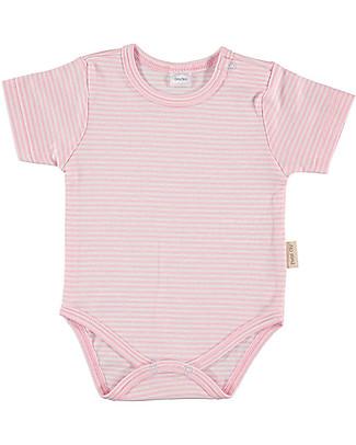 Petit Oh! Body Basic, Maniche Corte - Righe Rosa/Bianco - 100% Cotone Pima Body Manica Corta