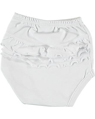 Petit Oh! Copripannolino con Balze Braguita, Bianco - Cotone Pima Pantaloni Corti