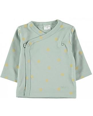 Petit Oh! Maglia Kimono, Acqua/Giallo - Cotone Pima Maglie Manica Lunga