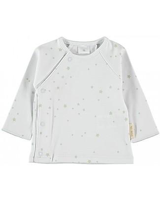 Petit Oh! Maglia Tim con Apertura Asimmetrica, Aqua Stars - 100% Cotone Pima Maglie Manica Lunga