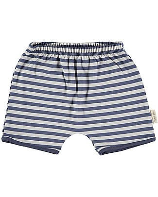 Petit Oh! Pantaloncini Tan-Tan, Righe Blu/Sabbia - 100% Cotone Pima Pantaloni Corti