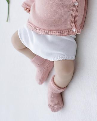 Petit Oh! Pantaloncino Copripannolino Ranita Lavorato a Maglia, Bianco - 100% Cotone Pantaloni Corti