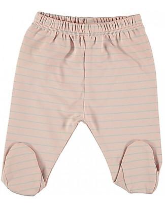 Petit Oh! Pantaloni con Piedi Polaina, Rose/Aqua - Cotone Pima Pantaloni Lunghi
