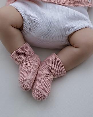 Petit Oh! Scarpine Neonato Lavorate a Maglia, Rosa - 100% Cotone Scarpe