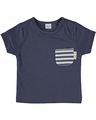 Petit Oh! T-Shirt Tan-Tan con Taschino, Righe Sabbia/Blu - 100% Cotone Pima T-Shirt e Canotte
